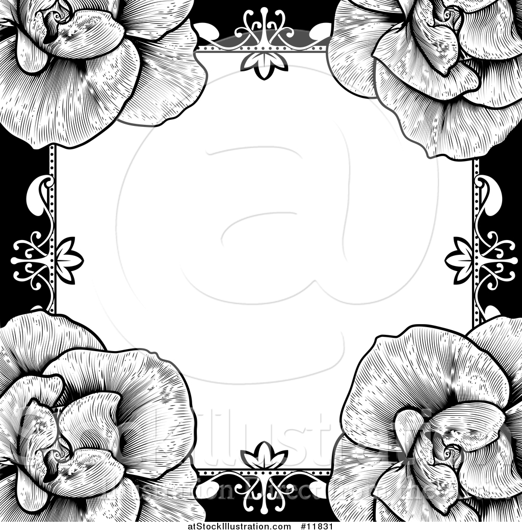 Vector Illustration of a Black and White Border or Wedding ...