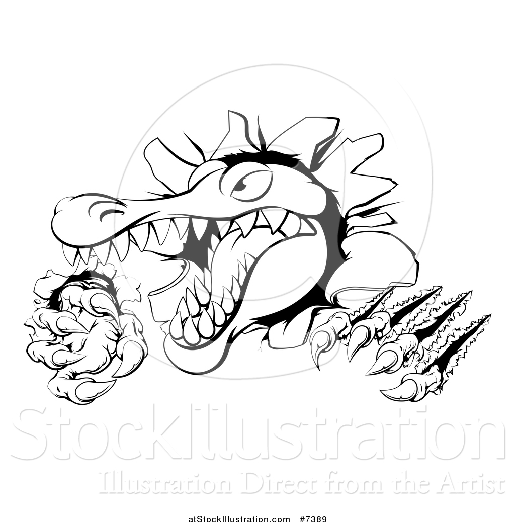 Vector Illustration of a Black and White Cartoon Vicious Alligator ... for Clipart Crocodile Black And White  45ifm