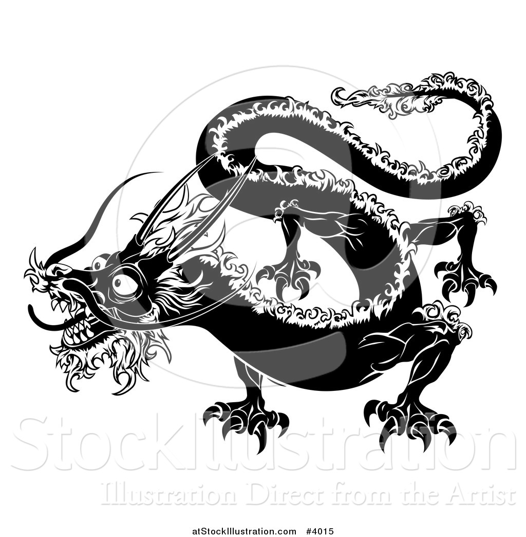 Vector Illustration of a Black and White Chinese Zodiac Dragon by