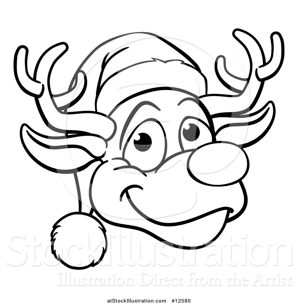 6a086a998cf0e Vector Illustration of a Black and White Happy Reindeer Face Wearing a Christmas  Santa Hat