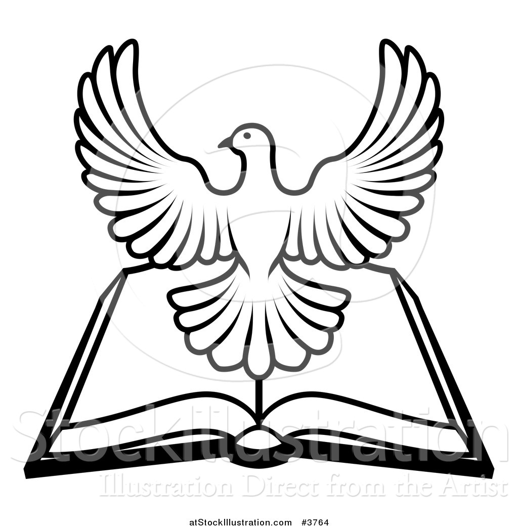 Vector illustration of a black and white holy spirit dove over an vector illustration of a black and white holy spirit dove over an open bible biocorpaavc
