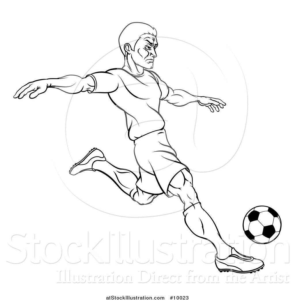 Vector Illustration of a Black and White Lineart Male ...