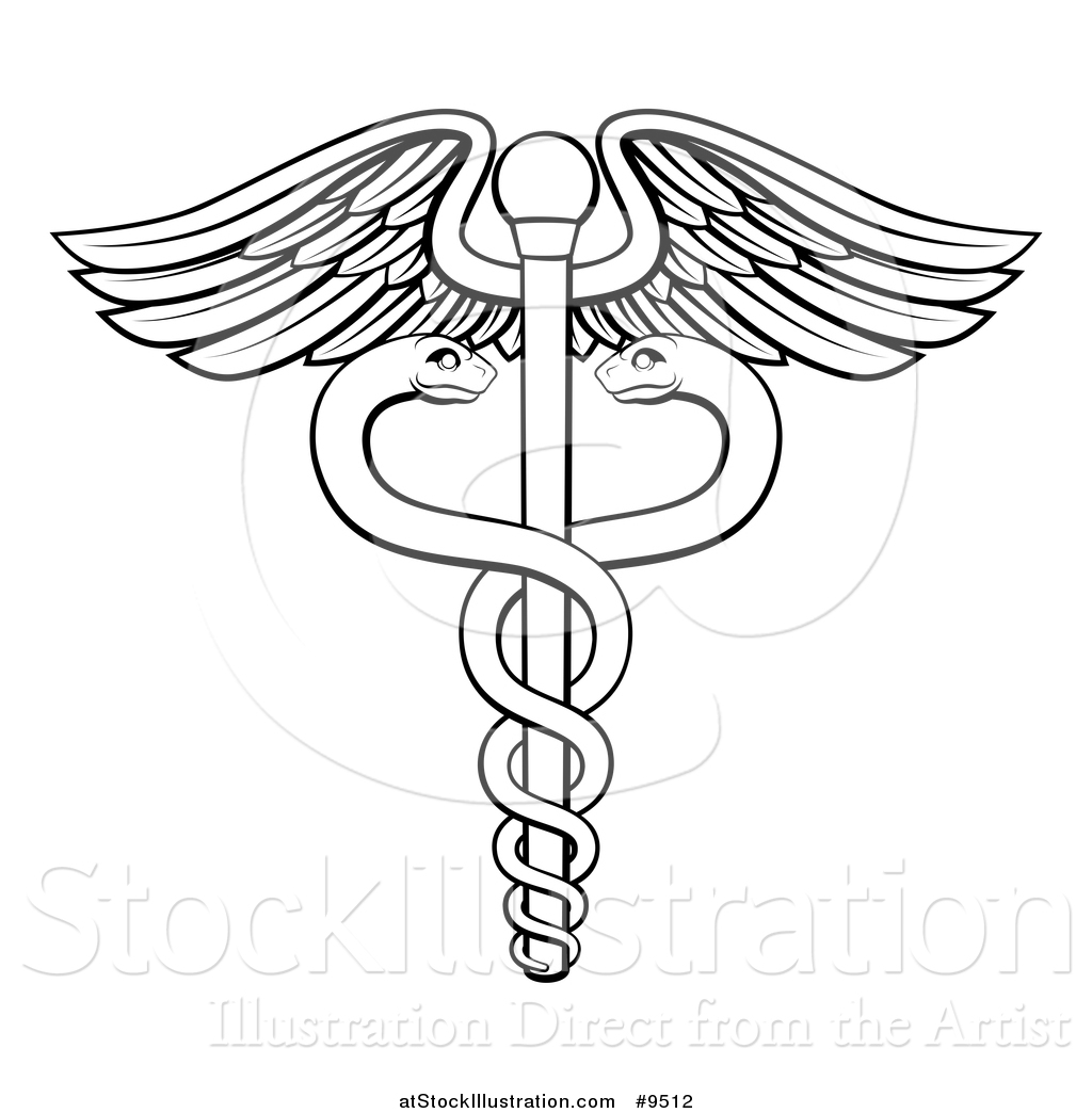 Vector illustration of a black and white lineart medical caduceus vector illustration of a black and white lineart medical caduceus with snakes on a winged rod buycottarizona Image collections