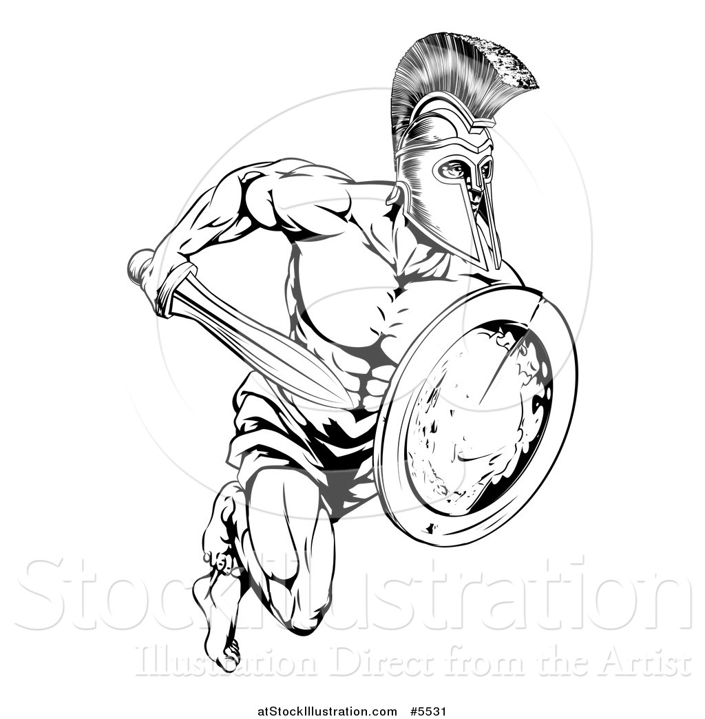 Vector Illustration Of A Black And White Running Trojan