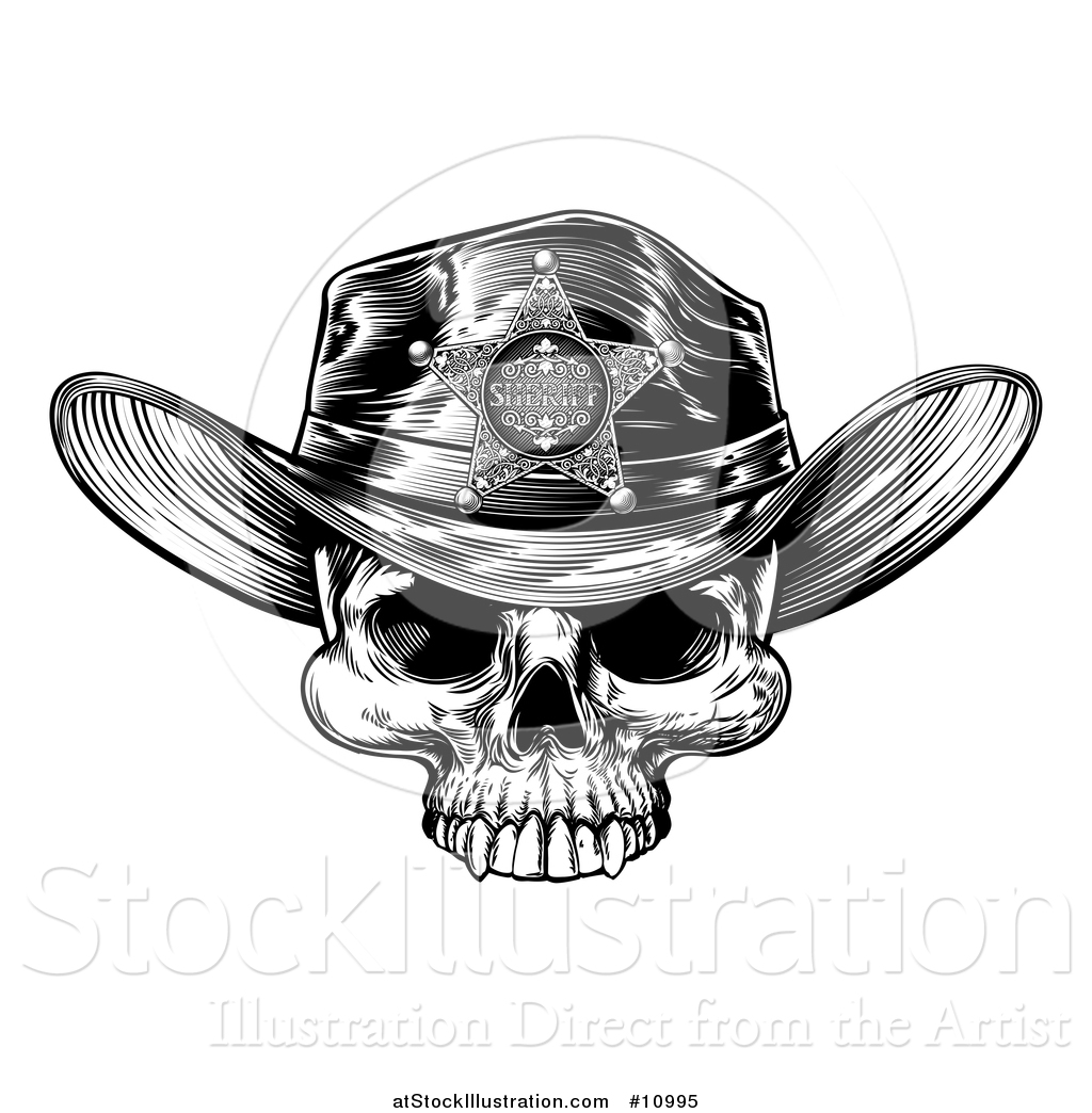 a3c2cf64 Vector Illustration of a Black and White Vintage Engraved Cowboy Skull  Wearing a Sheriff Hat