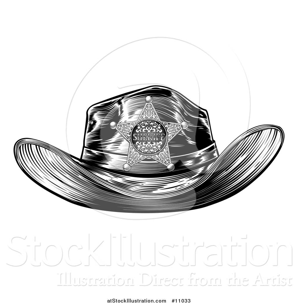 dc36b6f4 Vector Illustration of a Black and White Vintage Engraved Sheriff Hat