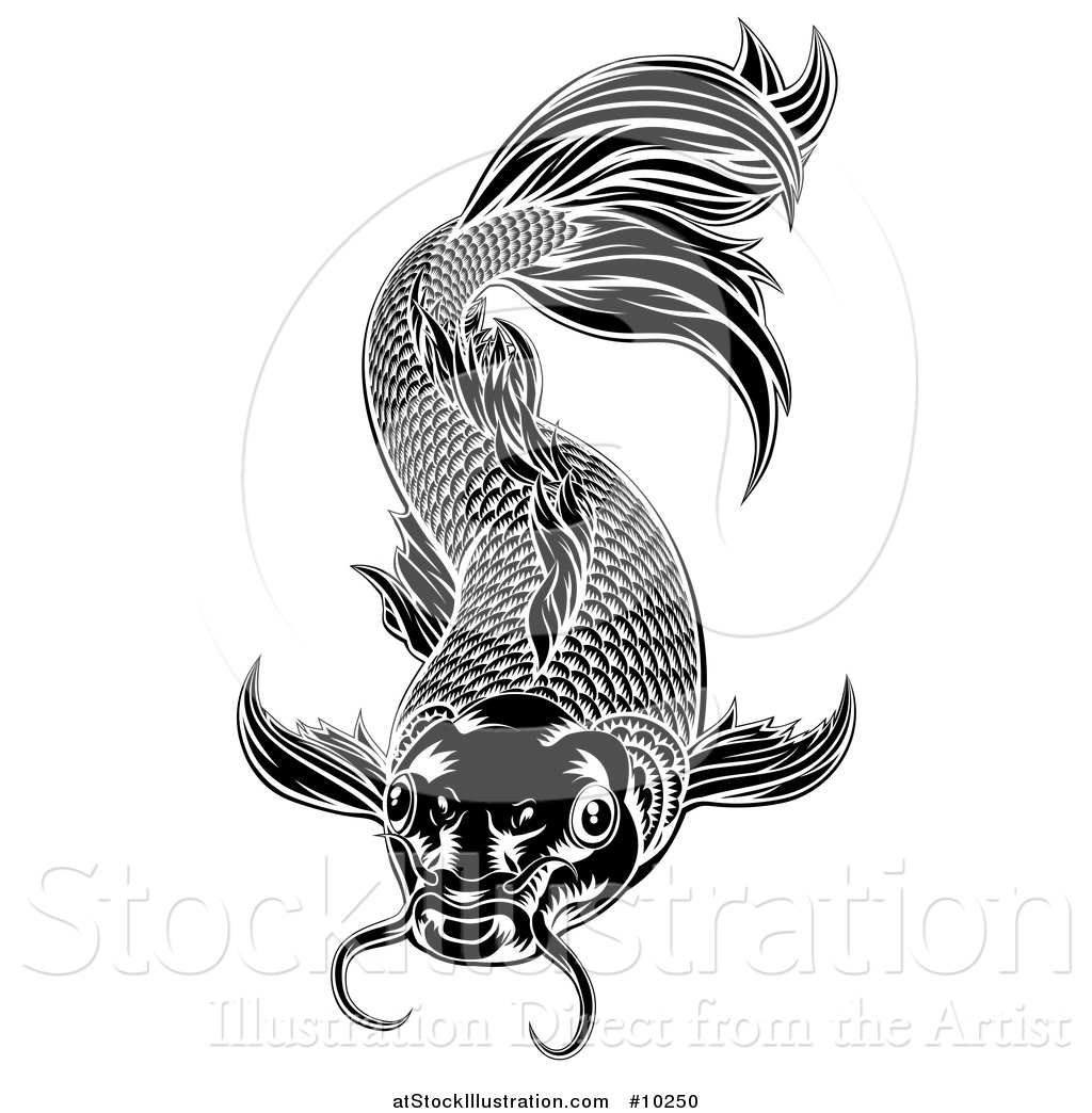 vector illustration of a black and white woodcut carp koi fish by rh atstockillustration com koi fish vector free koi fish vector free download