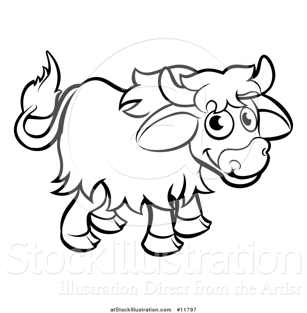 Line Drawing Yak : Vector illustration of a black and white yak by
