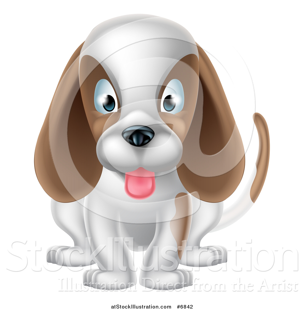 Vector Illustration Of A Cartoon Cute White And Brown Puppy Dog
