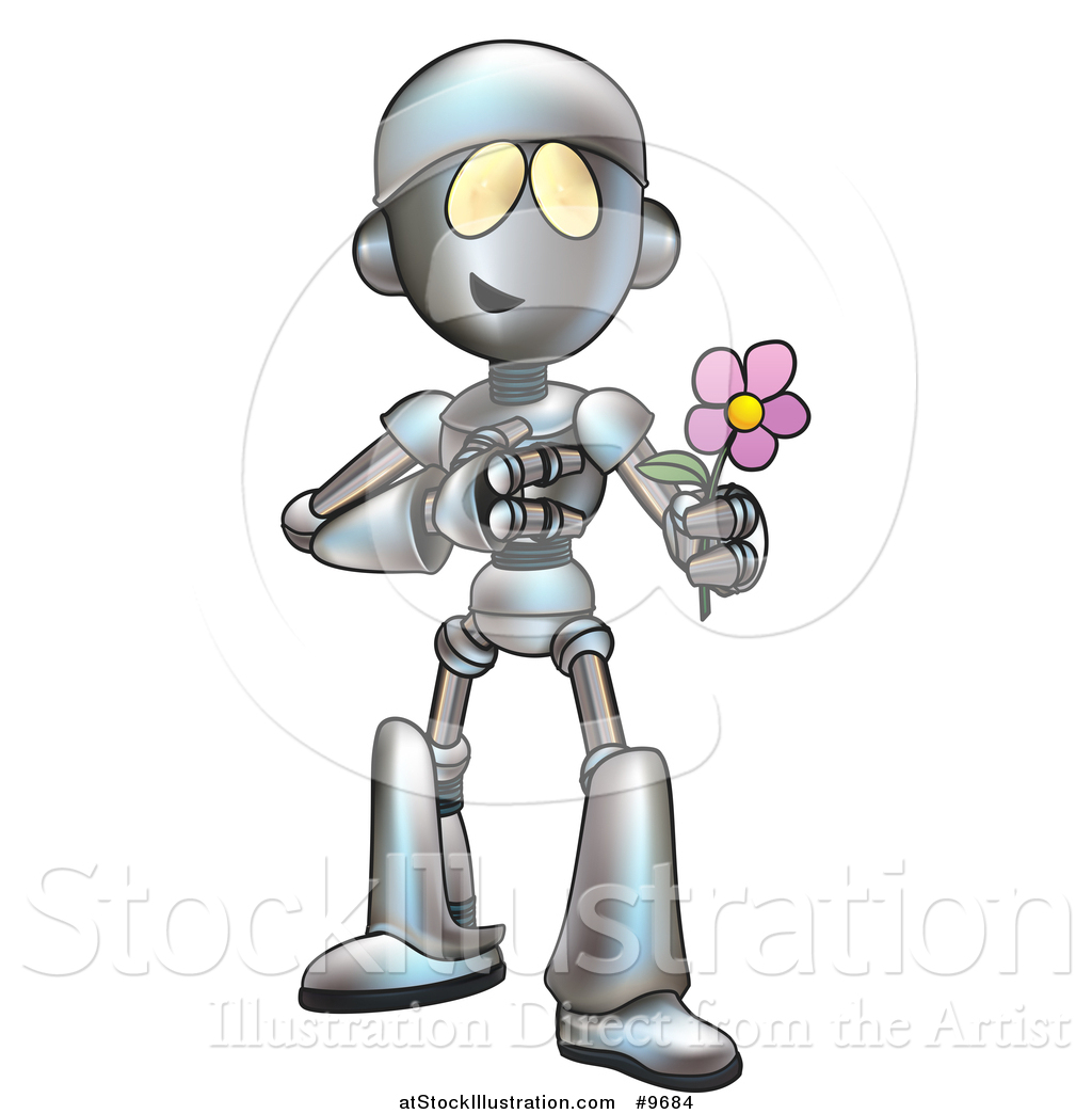 vector illustration of a cartoon romantic robot giving a flower by