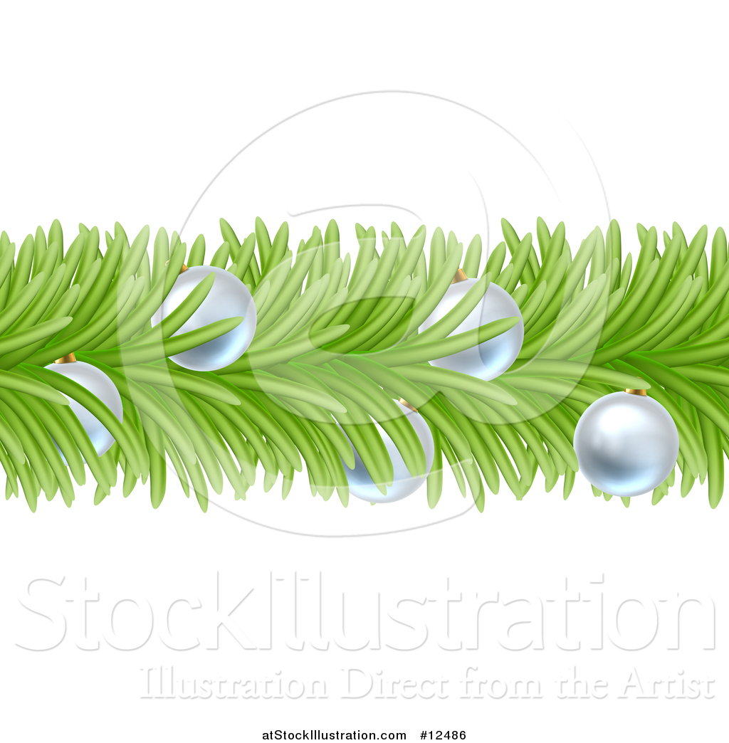 Christmas Branch Vector.Vector Illustration Of A Christmas Branch Garland With