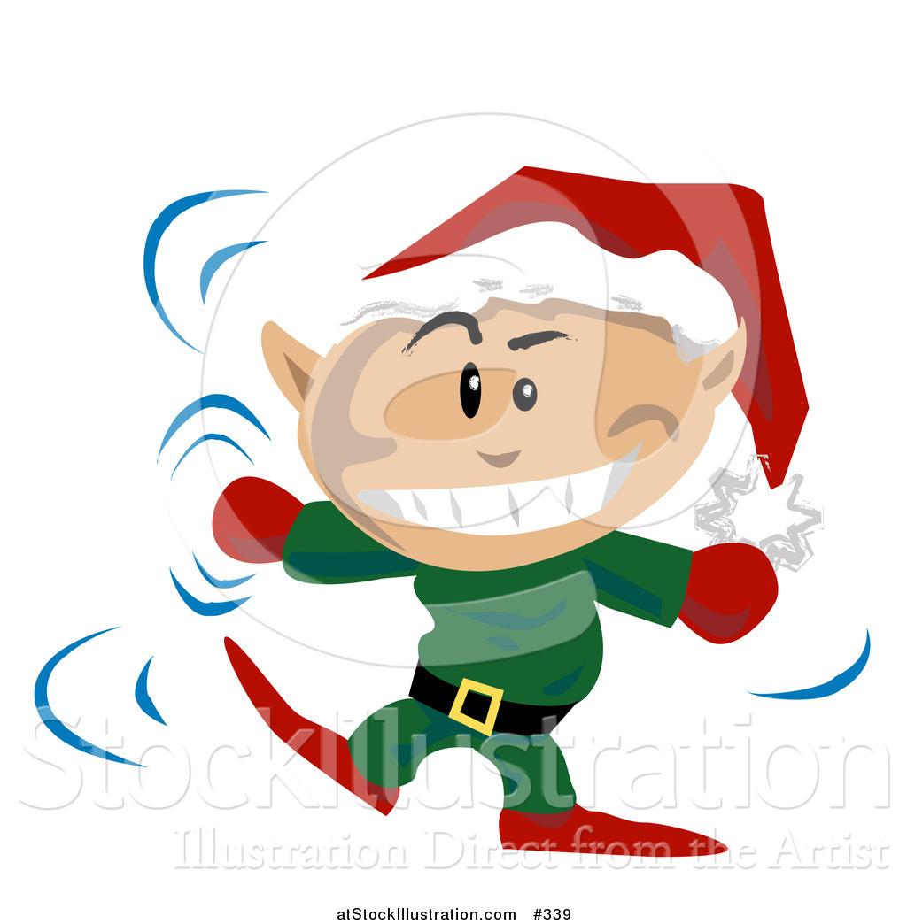 vector illustration of a christmas elf wearing a santa hat and rh atstockillustration com