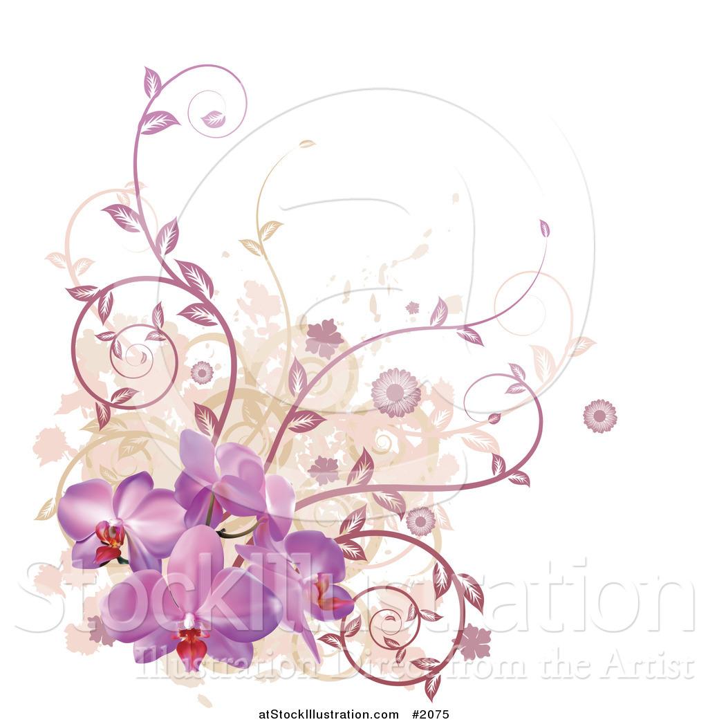 Vector Illustration of a Corner Design Element of Purple Orchid
