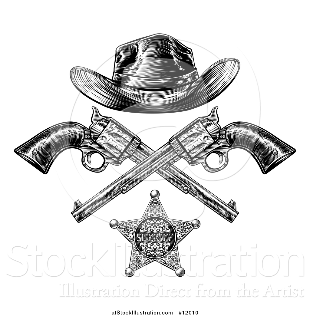8a0aa194508 Vector Illustration of a Cowboy Hat over Crossed Guns and a Sheriff Badge  in Black and White