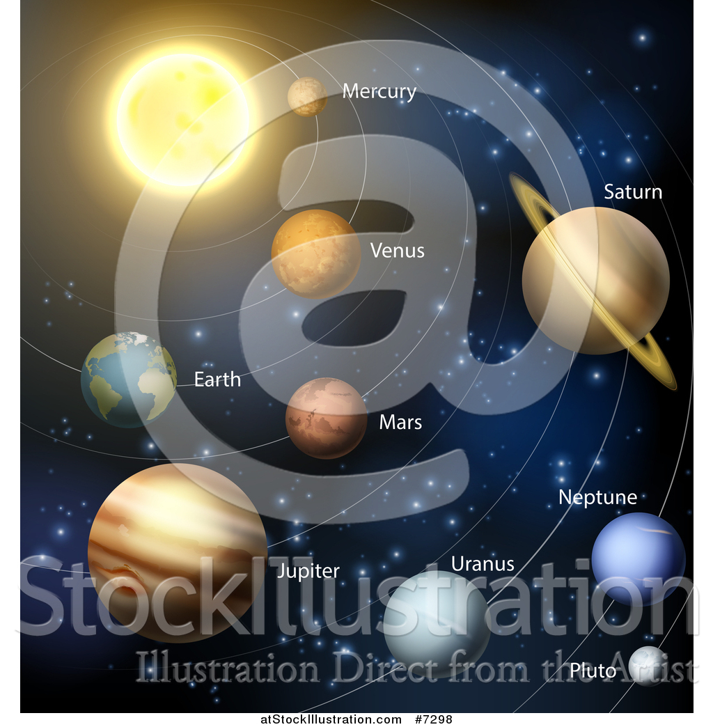 Vector Illustration Of A Diagram Of The Solar System With Labeled Planets And Blue Star