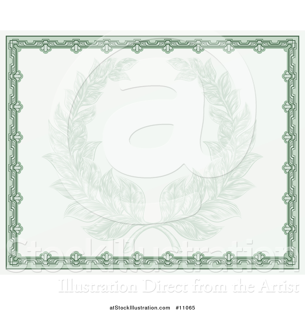 Vector illustration of a faded engraved laurel wreath in a green vector illustration of a faded engraved laurel wreath in a green certificate border 1betcityfo Images