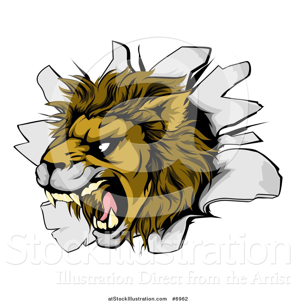 Vector Illustration of a Fierce Roaring Lion Mascot Head