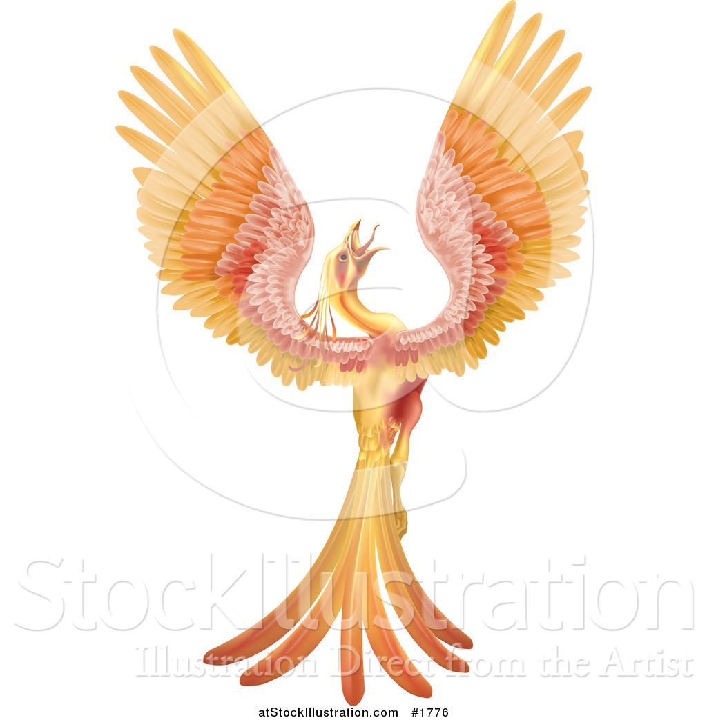 Vector illustration of a golden and red phoenix bird crowing and vector illustration of a golden and red phoenix bird crowing and stretching its wings voltagebd Choice Image