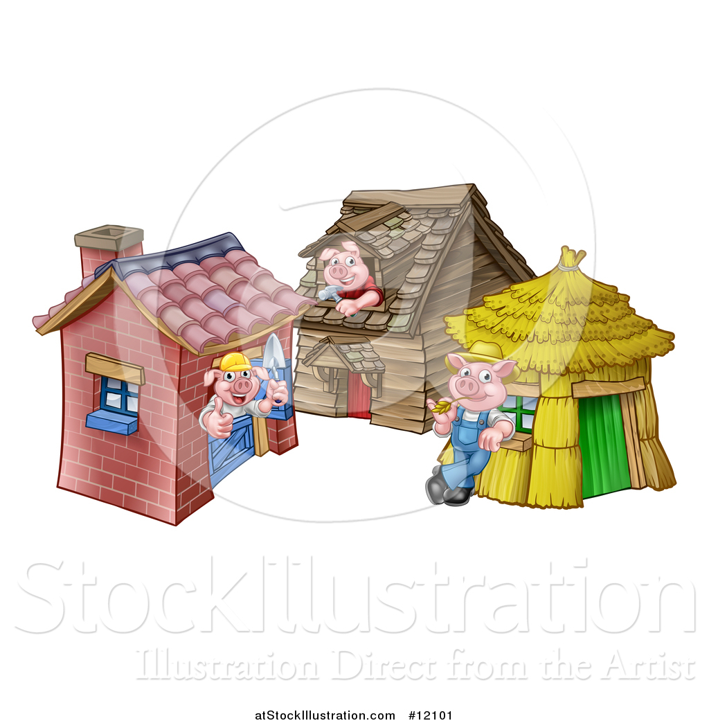 Vector Illustration Of A Piggies From The Three Little Pigs Fairy Tale, At  Their Brick