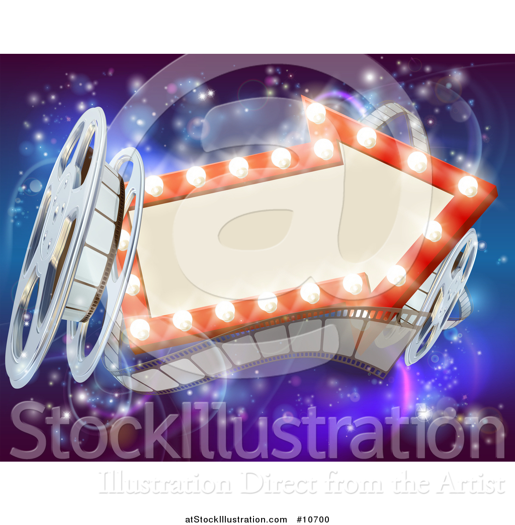 Vector Illustration of a Retro Arrow Marquee Theater Sign with Light