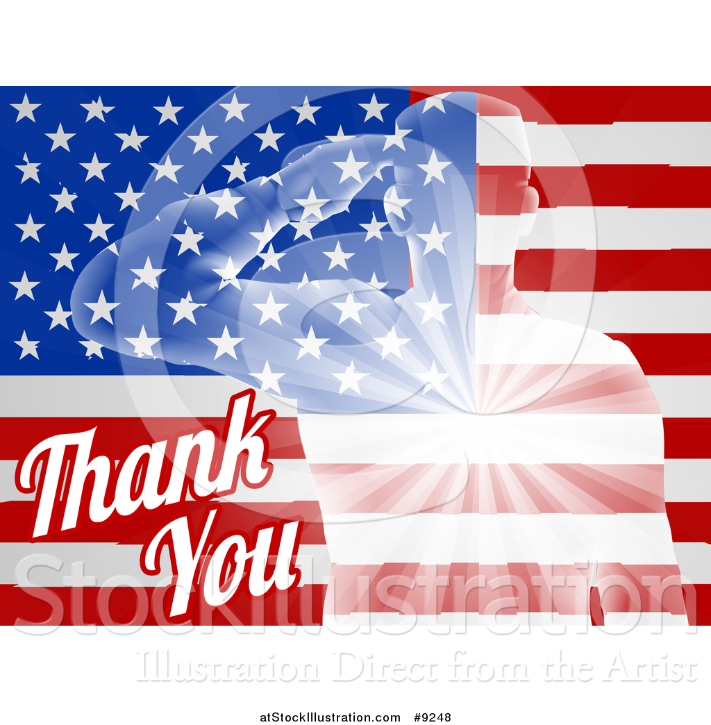 Vector Illustration Of A Silhouetted Transparent Saluting Soldier Over An American Flag And Thank You Text For Veterans Day By Atstockillustration 9248 on Americana Graphic Design