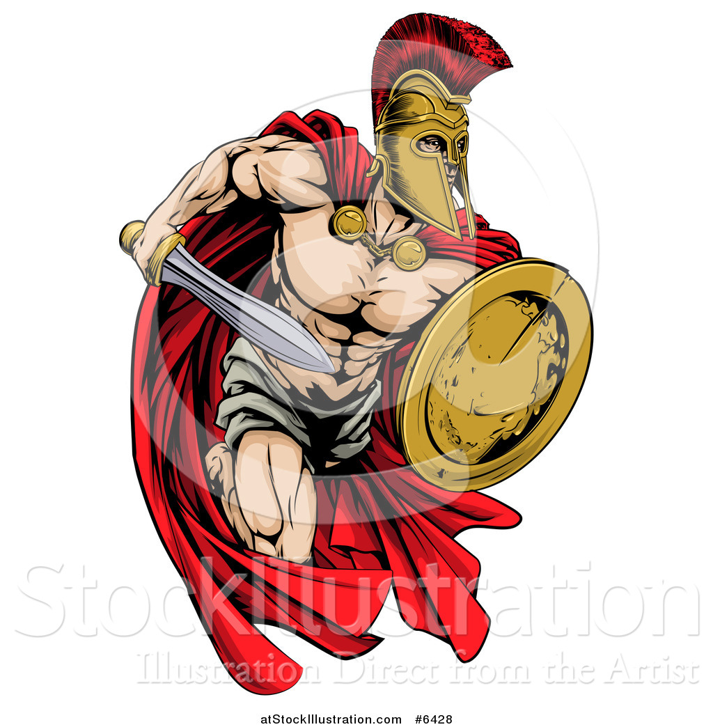 Vector Illustration of a Strong Spartan Trojan Warrior ...