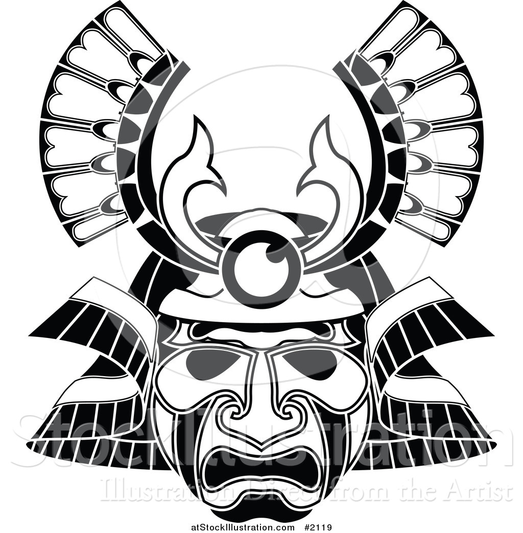 9d559c54b0055 Vector Illustration of a Tribal Mask Tattoo Design by ...