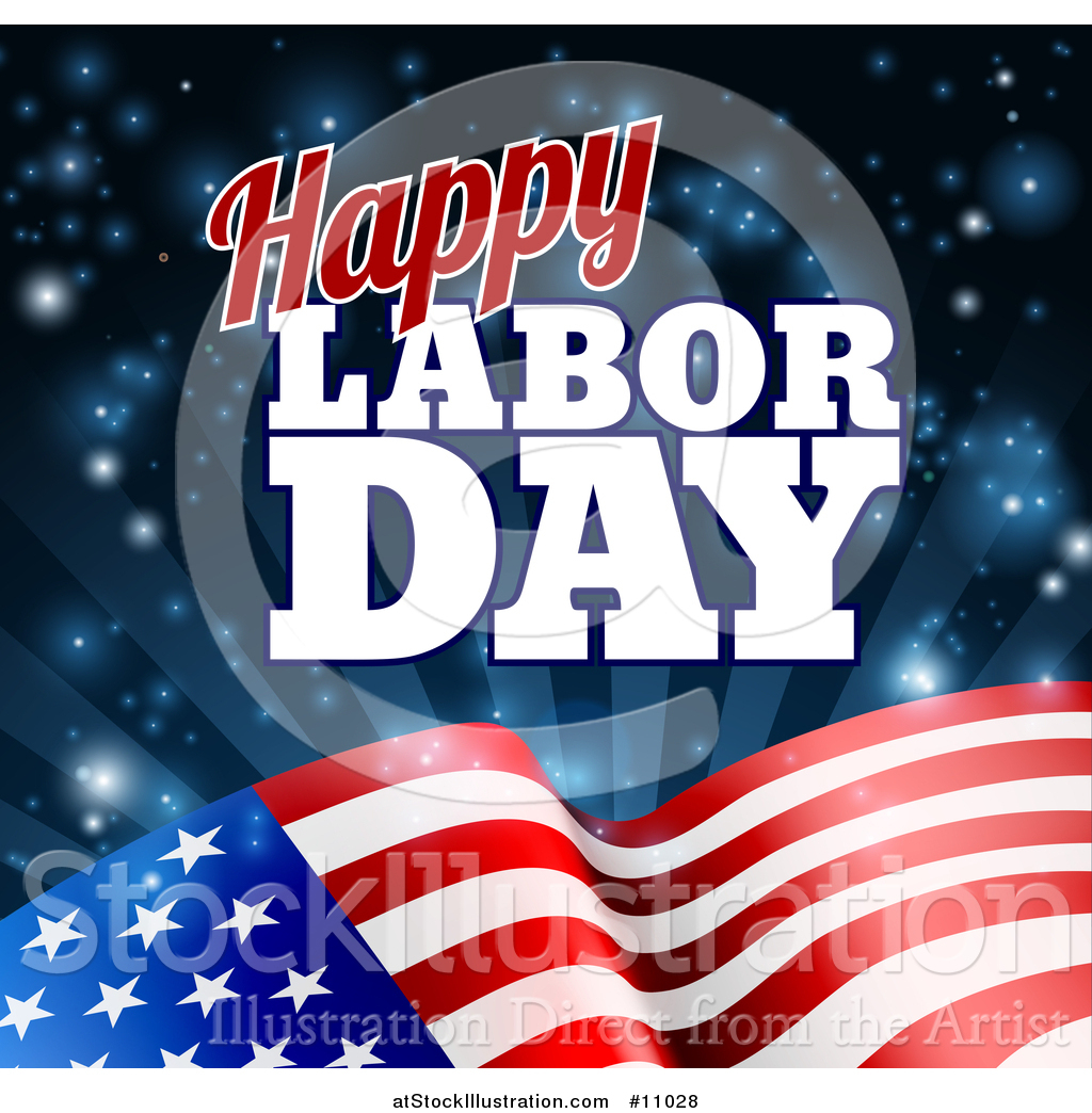 Vector Illustration Of A Waving American Flag With Flares And Happy Labor Day Text