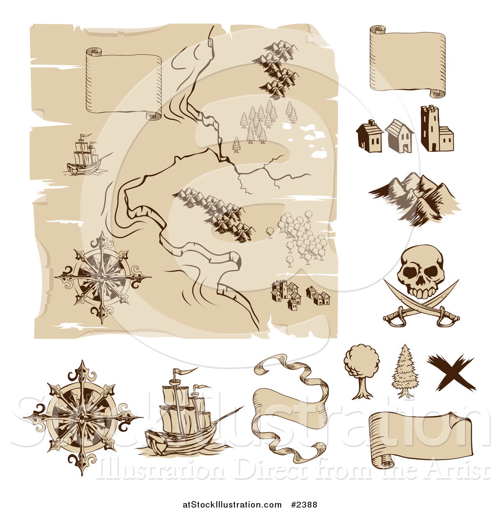 Vector Illustration Of A Worn Old Treasure Map And Design Elements