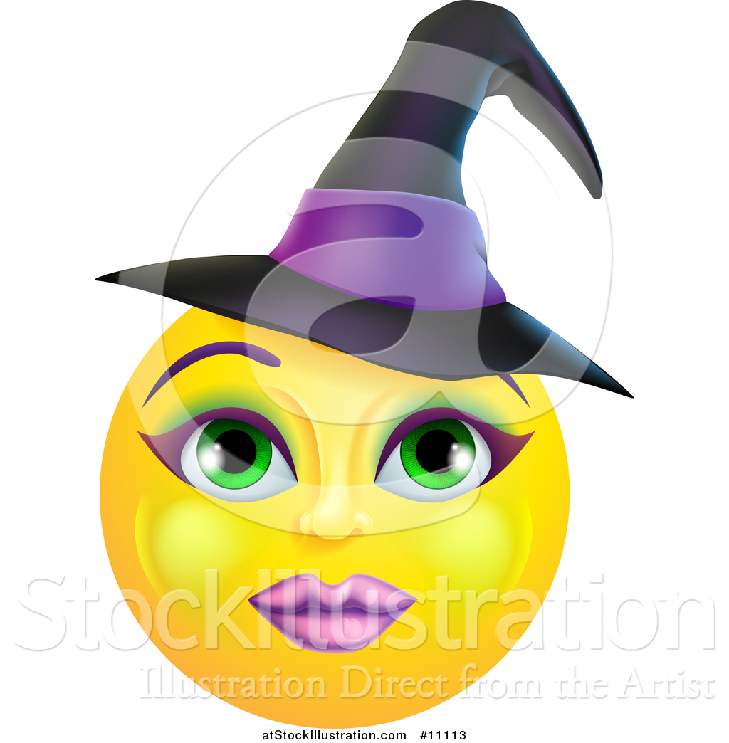Vector Illustration of a Yellow Witch Smiley Emoji Emoticon