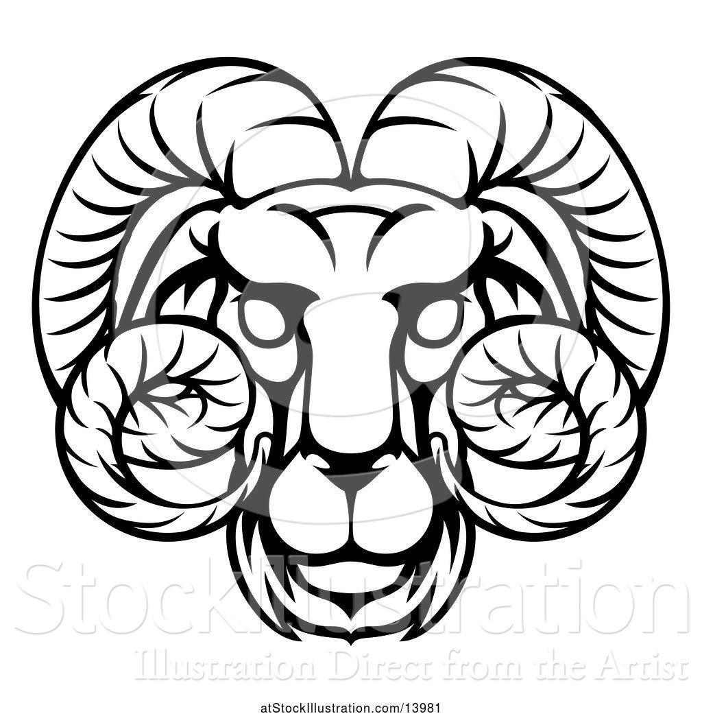 0128e9e68 Vector Illustration of Black and White Lineart Aries Ram Astrology Zodiac  Horoscope