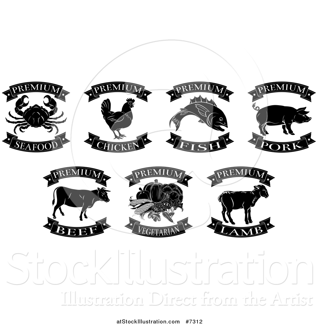 Vector Illustration of Black and White Premium Chicken, Beef, Pork ... for Beef Clipart Black And White  186ref