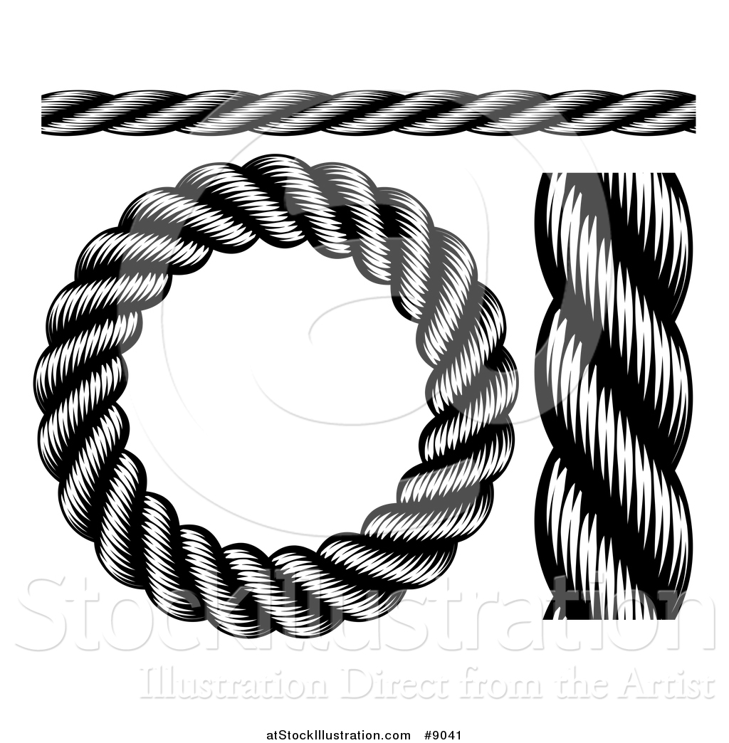 vector illustration of black and white woodcut or engraved nautical rh atstockillustration com  rope clip art black and white