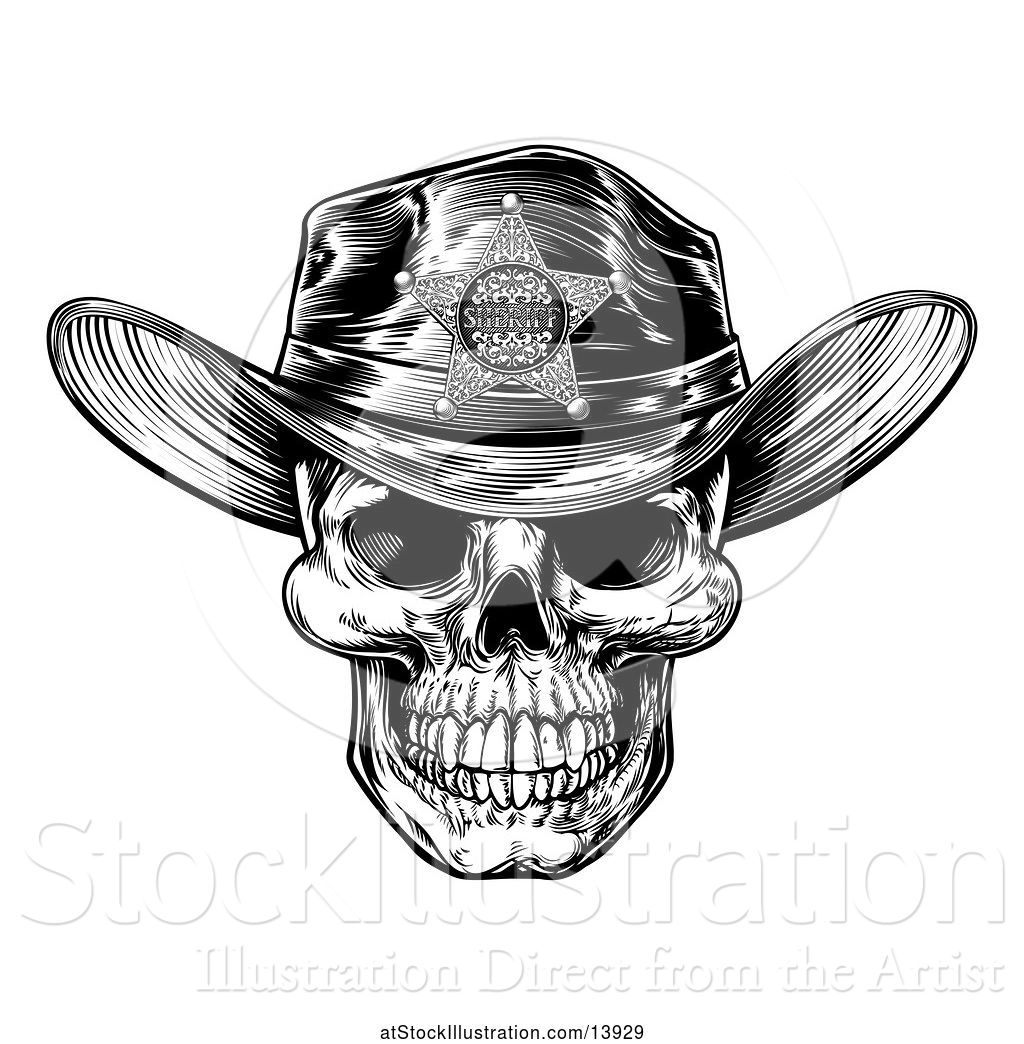 417062c8 Vector Illustration of Cowboy Skull Wearing a Sheriff Hat, Black and White Vintage  Engraved
