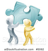 Vector Illustration of a 3d Gold and Silver Men Carrying a Large Solution Puzzle Piece by AtStockIllustration