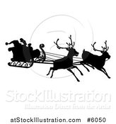 Vector Illustration of a Black Silhouette of Reindeer Flying Santa in His Sleigh by AtStockIllustration
