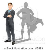 Vector Illustration of a Brunette Caucasian Businesman Standing with Folded Arms and a Super Hero Shadow by AtStockIllustration