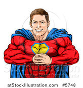 Vector Illustration of a Cacuasian Muscular Super Hero Man Gesturing Bring It with His Fists by AtStockIllustration