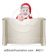 Vector Illustration of a Christmas Santa Claus Pointing at You over a Blank Scroll Page by AtStockIllustration