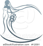Vector Illustration of a Graduebt Bride with Flowers, Her Dress and Veil Forming a Frame by AtStockIllustration