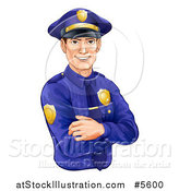 Vector Illustration of a Handsome Brunette Caucasian Police Officer Avatar with Folded Arms by AtStockIllustration