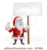 Vector Illustration of a Happy Christmas Santa Holding a Spanner Wrench and Blank Sign by AtStockIllustration