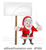 Vector Illustration of a Happy Christmas Santa Holding an Adjustable Wrench Tool and Blank Sign by AtStockIllustration