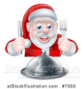 Vector Illustration of a Happy Hungry Christmas Santa Claus Sitting with a Cloche Platter and Holding Silverware by AtStockIllustration