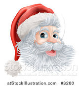 Vector Illustration of a Jolly Christmas Santa Face with a Hat by AtStockIllustration