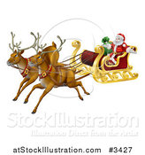 Vector Illustration of a Magic Flying Christmas Reindeer and Santa in a Sleigh by AtStockIllustration