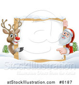 Vector Illustration of a Reindeer and Santa Pointing Around a Christmas Wood Sign in the Snow by AtStockIllustration