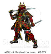 Vector Illustration of a Tough Japanese Samurai Warrior Holding Swords by AtStockIllustration