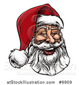 Vector Illustration of a Woodcut or Engraved Vintage Styled Jolly Laughing Christmas Santa Claus Face by AtStockIllustration
