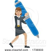 Vector Illustration of Businesswoman Holding Pen Mascot Concept by AtStockIllustration